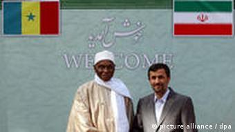 Image of Senegalese President, Abdoulaye Wade, and Iranian President, Mahmoud Ahmadinejad in Dakar