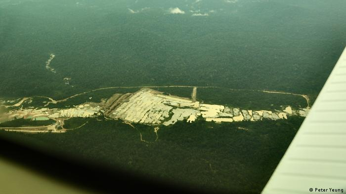 An illegal gold mine seen from the air in the Brazilian Amazon rainforest