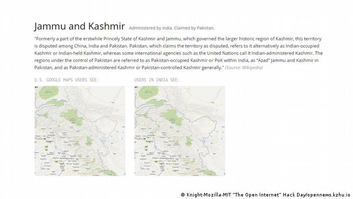 Google shows a different version of Kashmir maps depending on the country