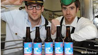 BrewDog founders Watt and Dickie dressed in naval and Bavarian costumes
