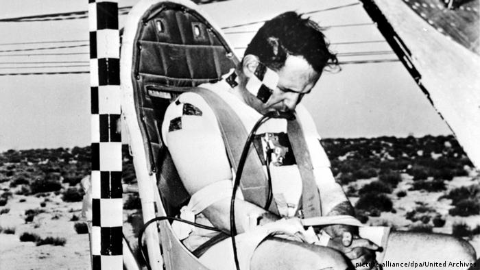 John P. Stapp on a acceleration chair at Edward Air Forces Base USA in 1951