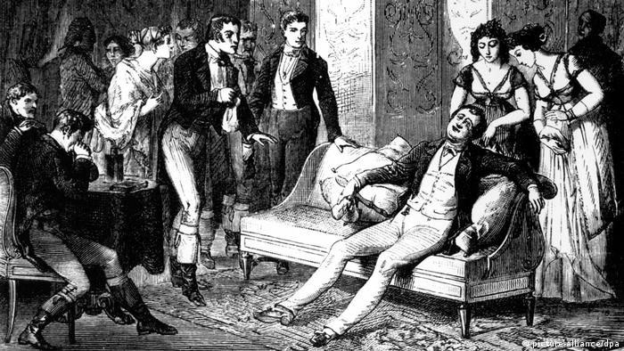 Sir Humphrey Davy passed-out on a couch, surrounded by other people from the high society