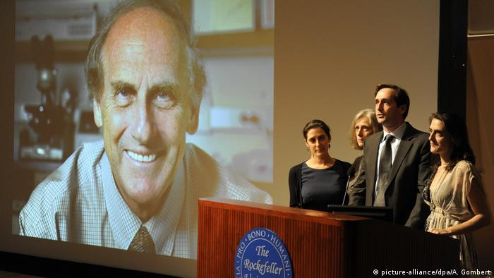 A ceremony in memory of Ralph M. Steinman: Lesley Steinman, Claudia Steinman, Adam Steinman and Alexis Steinman the family of Nobel Prize winner in Physiology or Medicine Ralph M. Steinman of Canada, Nobel Prize winner in Physiology or Medicine speak at a press conference at The Rockefeller University in New York, New York, on 03 October 2011.