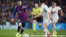 06.02.2019 February 6, 2019 - Barcelona, Catalonia, Spain - February 6, 2019 - Camp Nou, Barcelona, Spain - Copa del Rey - FC Barcelona v Real Madrid CF; Lionel Messi of FC Barcelona dribbles Daniel Carvajal of Real Madrid |