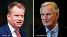 links: FILE PHOTO: British Prime Minister Boris Johnson's Europe adviser David Frost leaves the European Commission headquarters after a meeting with officials in Brussels, Belgium, October 7, 2019. REUTERS/Francois Lenoir/File Photo rechts: EU chief negotiator Michel Barnier arrives for a EU-UK coordination group at the European Parliament in Brussels on February 5, 2020. (Photo by Kenzo TRIBOUILLARD / AFP) (Photo by KENZO TRIBOUILLARD/AFP via Getty Images)