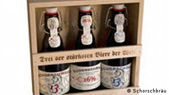Schorschbraeu's strong beers in a wooden presentation box