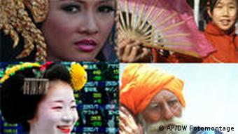 Asian faces (Photo: AP/DW Photomontage)