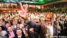Igor Matovic, leader of the anti-graft political movement Ordinary People and Independent Personalities (OLaNO), gestures on stage during the party's parliamentary election evening in Trnava, Slovakia on February 29, 2020. - Slovak voters handed a resounding victory to the centre-right, anti-graft OLaNO opposition party in Saturday's general election dominated by public anger over the 2018 murder of a journalist probing corruption, according to an exit poll. (Photo by JOE KLAMAR / AFP)