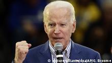 29.02.2020, USA, Raleigh: Joe Biden, demokratische Bewerberin um die Präsidentschaftskandidatur, spricht bei einer Wahlkampfveranstaltung. Foto: Gerry Broome/AP/dpa +++ dpa-Bildfunk +++ |