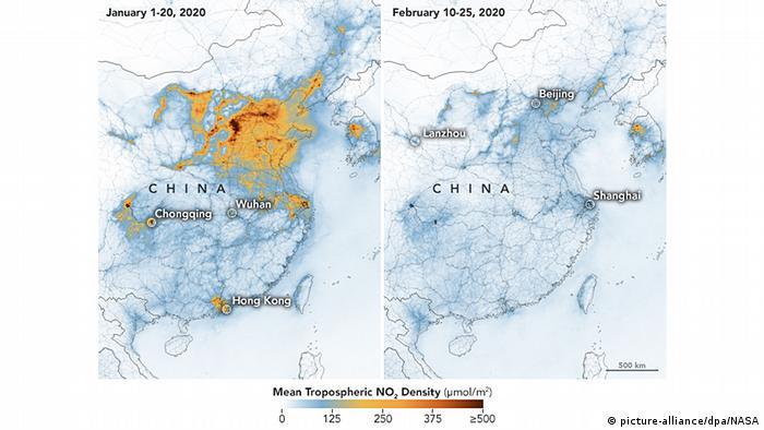 Las fotos de satélite de enero y febrero muestran diferentes niveles de emisiones en China.