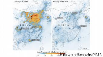 Coronavirus in China Rückgang Luftverschmutzung