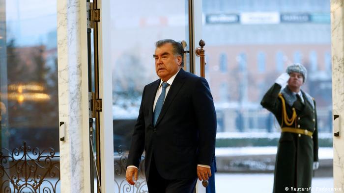 Tadschikistans Präsident Emomali Rachmon 2017 in Minsk, Belarus