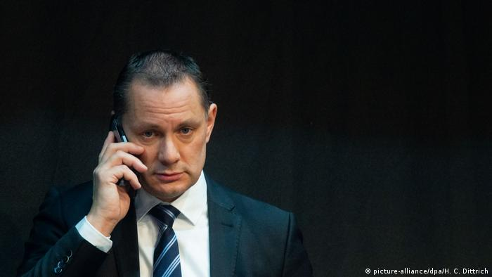 Tino Chrupalla talking on his cell phone, photo from 01.12.2019.