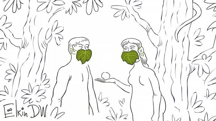 Karikatur - Eva bittet dem Adam einen Apfel an