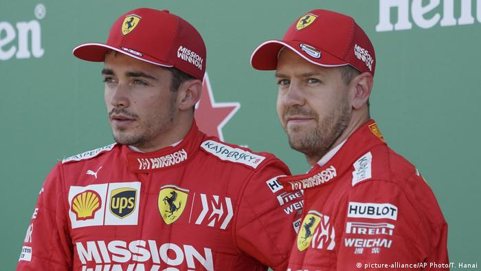 Ferrari drivers Charles Leclerc and Sebastian Vettel (picture-alliance/AP Photo/T. Hanai)
