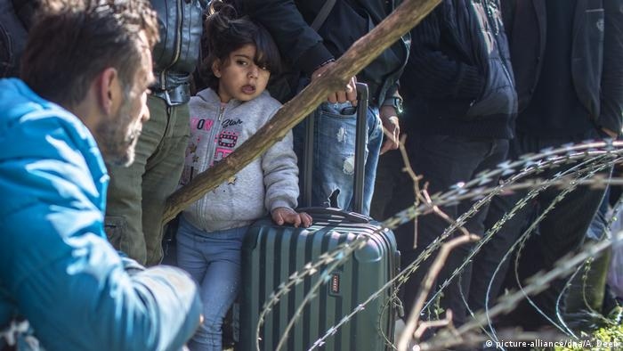 Many children are among those currently stuck on Turkey's border with Greece