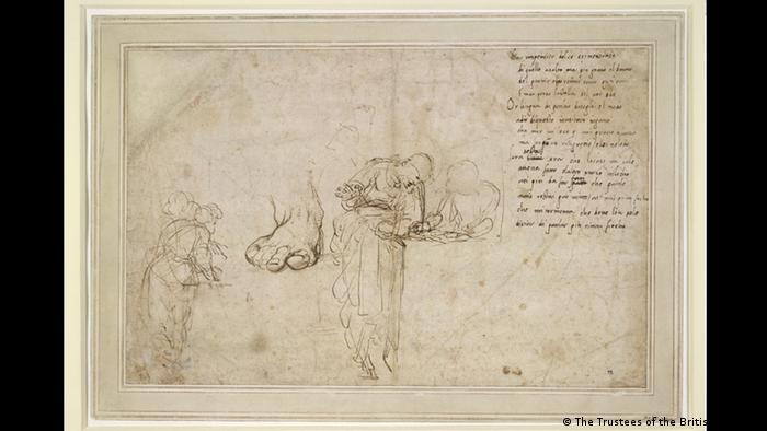 Рафаело работел много задълбочено и комплексно: преди да се захване с даден сюжет, той скицирал множество детайли. Както показва горната скица, Рафаело изследвал също така различните фигури и пози, дори напрягането на мускулите. През март в Рим бе открита най-голямата досега изложба на негови произведения.