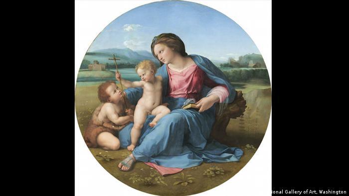 Рафаело рисува множество картини с Богородица (на снимката: Мадона Алба, около 1510 година). Наред с Леонардо до Винчи и Микеланджело, Рафаело е смятан за един от големите майстори на Зрелия Ренесанс. Великият художник е роден през 1483 година в Урбино. Отгледан е от чичо си, тъй като родителите му умират много рано. До 1504 година Рафаело твори в Умбрия, след което се премества във Флоренция.
