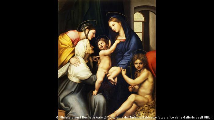 painting of several women, one of them has a child on her lap.(Foto: Ministero per i Beni e le Attività Culturli e del Turismo/Gabinetto fotografico delle Gallerie degli Uffizi ).