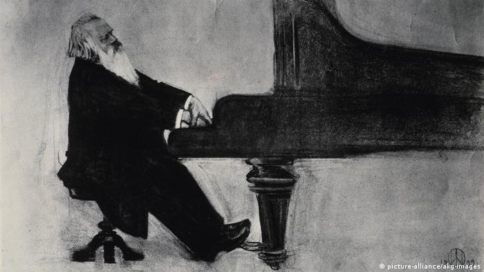 Johannes Brahms at the piano (picture-alliance/akg-images)