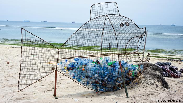 A special waste bin made with the form of a fish on the shores of Tanzania
