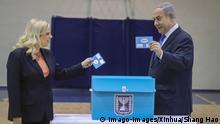  Israel Hohe Beteiligung bei Parlamentswahl trotz Coronavirus   Benjamin Netanyahu und seine Frau