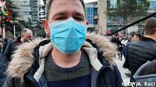 Albanien Protest gegen Regierung Rama in Tirana. Rexhep Pepkolaj. Foto: Ani Ruci / DW am 2.3.2020