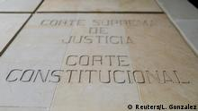 A wall with the carved phrase that reads Supreme Court of Justice, Constitutional Court is seen on the facade of the Palace of Justice in Bogota, Colombia September 10, 2019. Picture taken September 10, 2019. REUTERS/Luisa Gonzalez