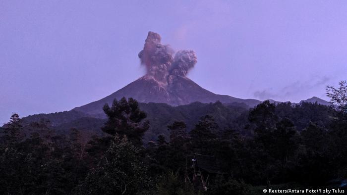 Plumes of smoke above Mount Merapi