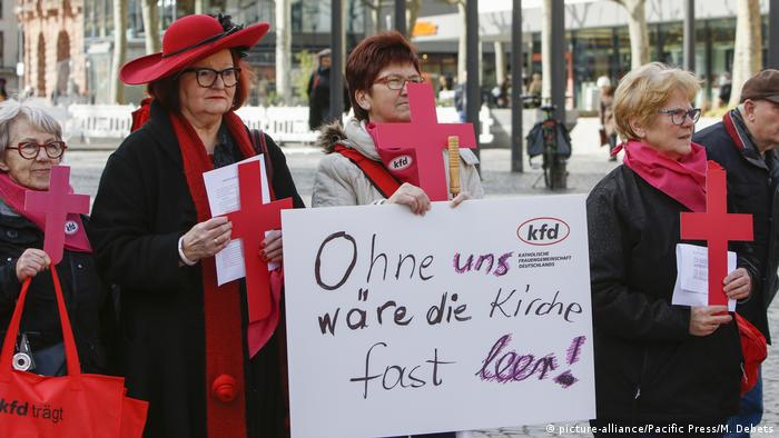 Women in the German city of Mainz protest for a greater role in the country's Catholic church