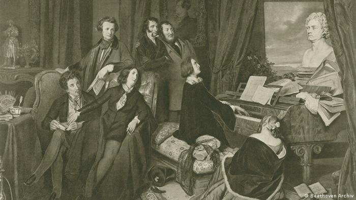 Drawing of Franz Liszt playing on a piano with a bust of Beethoven