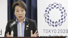 New Japanese minister in charge of the Tokyo Olympic and Paralympic Games Seiko Hashimoto meets the press in Tokyo on Sept. 12, 2019. (Kyodo)  