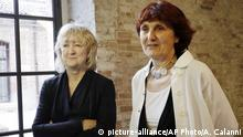 FILE - In this May 23, 2018 file photo, Biennale International Architecture exhibition curators Yvonne Farrell, left, and Shelley McNamara appear in Venice, Italy. Farrell and McNamara, of Dublin, Ireland, have been named recipients of the 2020 Pritzker Prize. (AP Photo/Antonio Calanni, File) |