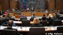 3.3.2020*** Slovenian Democratic Party leader Janez Jansa (C) addresses the National Assembly prior to voting on electing the new Prime Minister in Ljubljana, Slovenia on March 3, 2020. - Janez Jansa, leader of an anti-migrant party, was nominated February 26 as prime minister of Slovenia, setting him on track for a return to high office after a nearly seven-year absence. A long-time leader of the anti-migrant SDS and ally of Hungarian nationalist Prime Minister Viktor Orban, Jansa led two previous governments before being forced to step down in 2013 over a corruption scandal. (Photo by Jure Makovec / AFP)