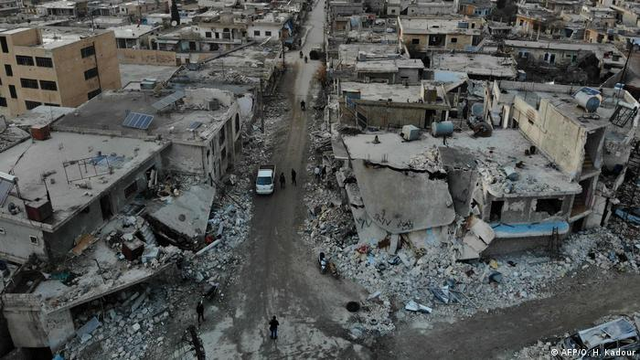 Aerial view taken on December 8, 2019 shows ruins of a neighborhood in Al-Bara in Syria's Idlib province (AFP/O. H. Kadour)