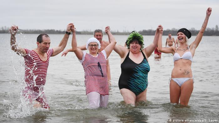 Bathers near Germany's Stralsund on New Year's Day