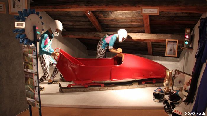 Exhibit in the Bob Museum Celerina near St. Moritz: Historic bobsled