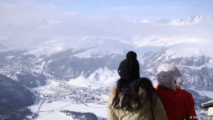 Panoramic view of the Swiss winter sports resort of St. Moritz in Switzerland in the snow