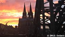 Köln am 29. Februar 2020. Dom und die Brücke