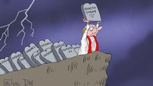 Karikatur - russischer Präsident Wladimir Putin trägt einen Grabstein Verfassung zu einem Abgrund, hinter Putin sind zahlreiche Grabsteine Änderung DW, Sergey Elkin