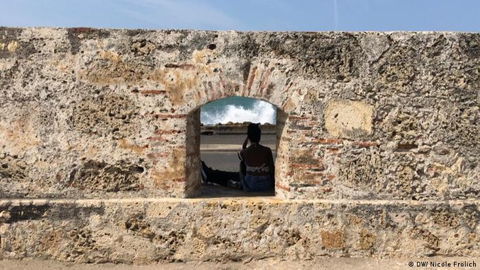 Old city wall in Cartagena