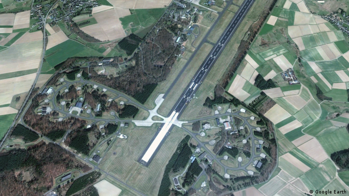 Aerial view of Büchel air base in the Eifel region of western Germany
