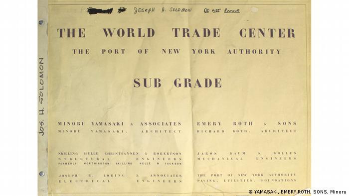 Front page of the World Trade Center blueprints (YAMASAKI, EMERY ROTH, SONS, Minoru)
