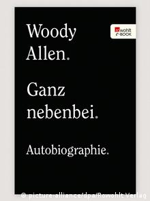 Black book cover with the words: Woody Allen. Ganz nebenbei. Autobiography