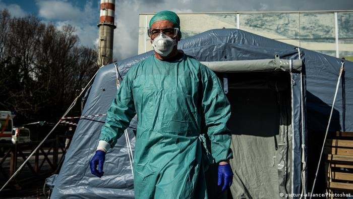 An Italian medical worker in full protective gear