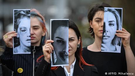 BdTD Rumänien Bukarest Protest gegen Gewalt an Frauen (AFP/D. Mihailescu)