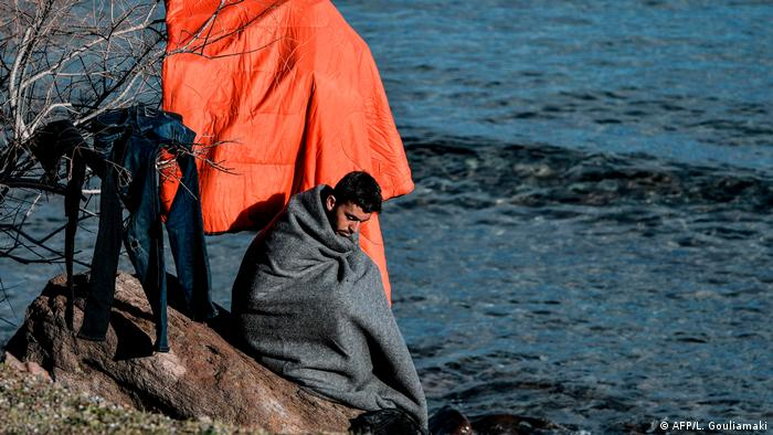 In early Spring migrants arrive on the shores of Greece's Aegean islands in little boats