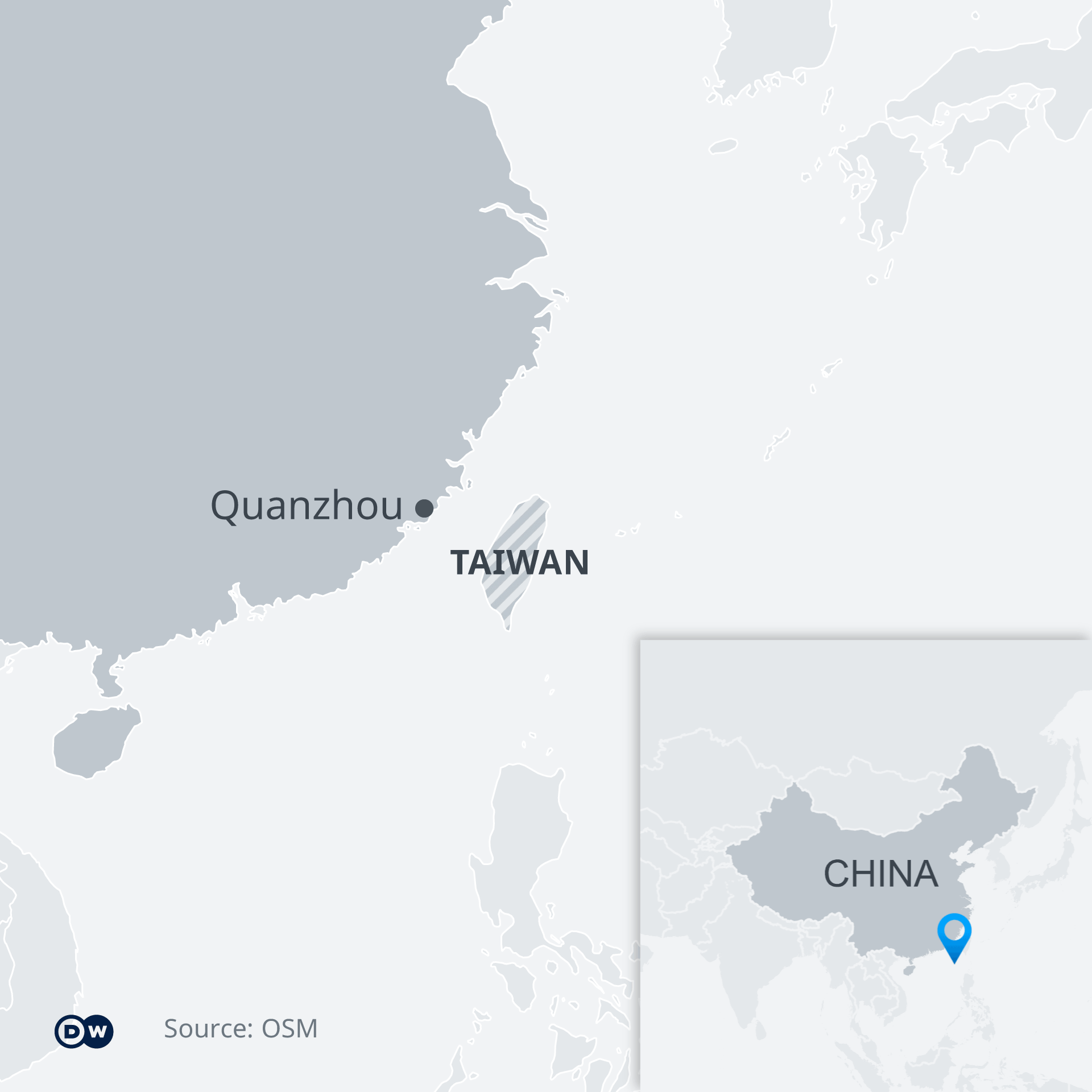 Map showing Quanzhou in China