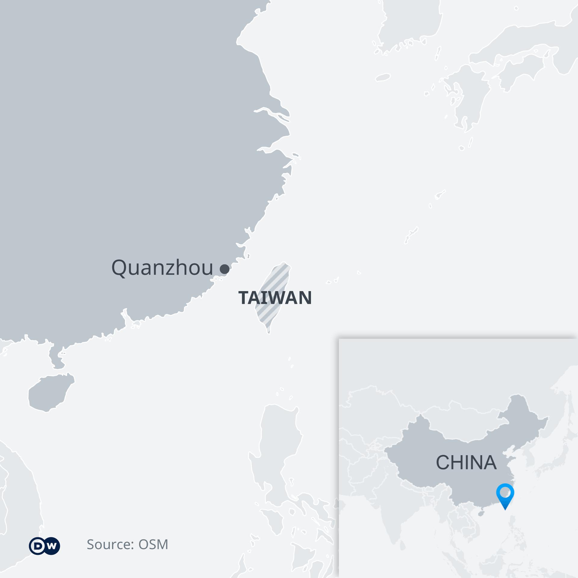 Map showing Quanzhou in China