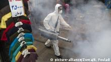 March 6, 2020, Tehran, Iran: Firefighter teams with protective suits disinfect the Tajrish Bazaar as a precaution to the coronavirus (Covid-19) in Tehran, Iran. Iranian officials cancelled Friday prayer for the second week due to concerns over the spread of coronavirus and COVID-19. According to the last report by the Ministry of Health, there are 4,747 COVID-19 cases in Iran. 147 people have died so far. A Health Ministry spokesman warned authorities could use unspecified 'force' to halt travel between major cities. (Credit Image: © Rouzbeh Fouladi/ZUMA Wire |